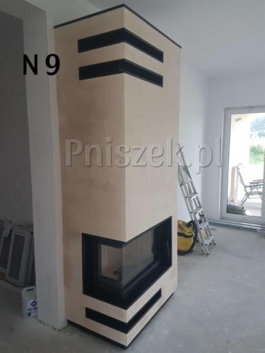 Kominek nowoczesny na bazie wkładu Zibi 12 opaska z czarnego granitu wykonany w chwalecice