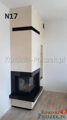 kominek z przeszkleniem bocznym z czarnym granitem wykonanie obudowy nba indywidualne zamowienie przez  Kominki Pniszek